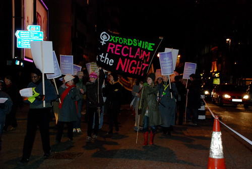 marchers with an Oxfordshire Reclaim the Night banner