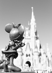 Disney - Minnie Mouse and Cinderella Castle - B&W