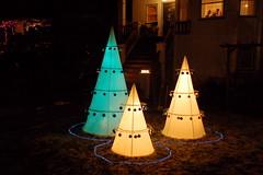 Cone trees (Derek K. Miller) Tags: trees tree vancouver lights christmastree christmaslights xmaslights 2008 eastvan xmastree eastvancouver trinitystreet 18135mmf3556g christmaslightfestival