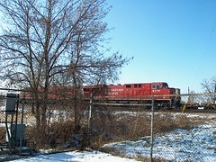 Canadian Pacific locomotives idling in the winter cold. Schiller Park Illinois. January 2007.