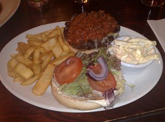 Chargrilled El Paso burger at the Bailie Bar, Stockbridge, Edinburgh