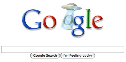 "Today's Google ""Unexplained Phenomenon"" Flying Saucer Logo"