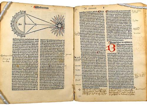 Woodcut illustration and annotations in Orbellis, Nicolaus de: Cursus librorum philosophiae naturalis [Aristotelis] secundum viam Scoti