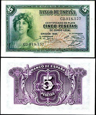 5 Pesetas Španielsko 1935, Pick 85