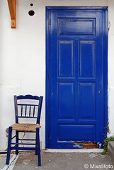 2blue (mixalifoto) Tags: door blue blu empty seat bleu greece grecia blau griechenland azzurro tr stuhl
