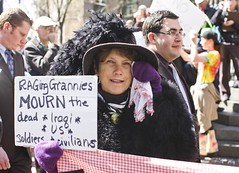 Raging Grannies Mourn the Dead (Thomas Hawk) Tags: sanfrancisco california woman usa up sign dead us holding unitedstates mourning unitedstatesofamerica protest financialdistrict antiwar soldiers iraqi mourn grannies raging raginggrannies civilians sfprotest03192008 sfprotest021908