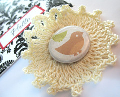 Just to Say Hello! (Warm 'n Fuzzy) Tags: hello bird yummy sweet crochet card kawaii brooche crafty sute zakka gretting metalbadge yoyomaker crochetedcup 1inhcbutton