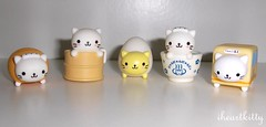 nyanko spa figures (iheartkitty) Tags: bus cute japan cat japanese tea egg kitty steam kawaii greentea spa bun sanx nyanko iheartkitty