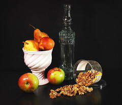 Walnuts (floralgal) Tags: stilllife glass fruit pears bottles decorative walnuts apples glassbottles whitebowl blueribbonwinner ceramicbowl tabletopstilllife superbmasterpiece betterthangood dianaleeangstadtphotography