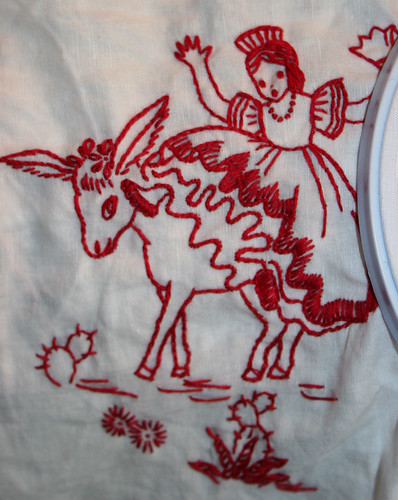 Redwork Girl falling off a burro