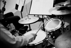 Drum (kejoli) Tags: blackandwhite bw musician music white black drums sticks drumset sound drummer percussionist nmmi newmexicomilitaryinstitute