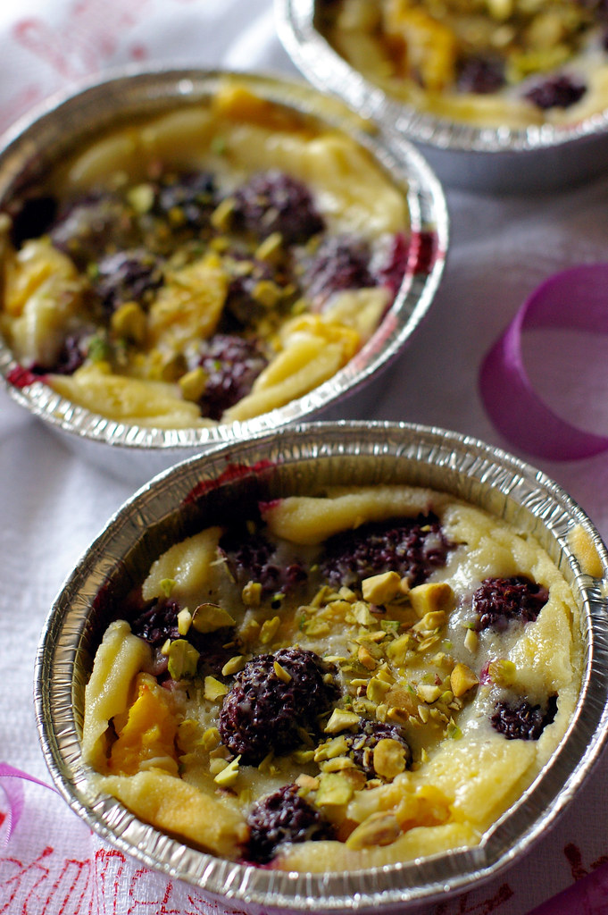 Blackberries and mango Clafoutis