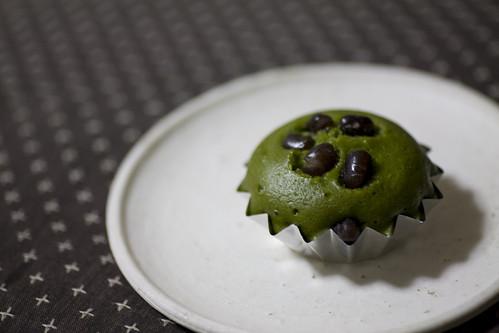 steamed cake; green tea & adzuki beans