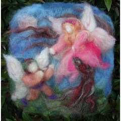 Fairies Courting by Moonlight - Waldorf Inspired Needle Felted Tapestry / Painting (Nushkie Design) Tags: wool painting gnome child natural ooak waldorf fairy mermaid tapestry primitive wallhanging naturetable needlefelted nfestfeltneedlefeltnaturalkidsdesignstyleguidewaldorfsteiner woolorganic