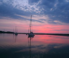 eveningblush (khanrizzi) Tags: pink sunset sea water clouds boats solent tranquil iow newtowncreek thesolent