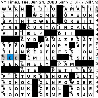 Rex parker does the nyt crossword puzzle tuesday jun 24 2008 tuesday june 24 2008 spiritdancerdesigns Image collections