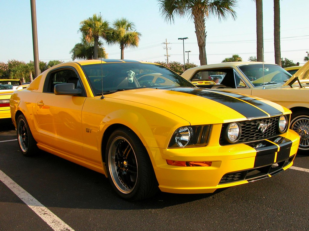 Yellow mustang gt with black stripes char1iej tags black ford car yellow myrtlebeach