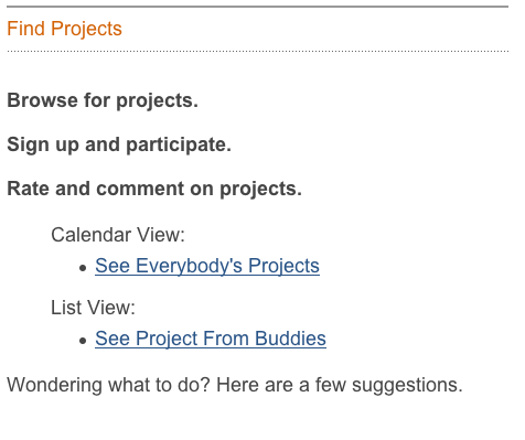 Find Projects Page - July 15