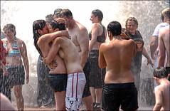 [v.2] (shadowplay) Tags: seattle motion water fountain kiss tribal spray lovers passion embrace seattlecenter handjive pridefest photographerasvoyeur