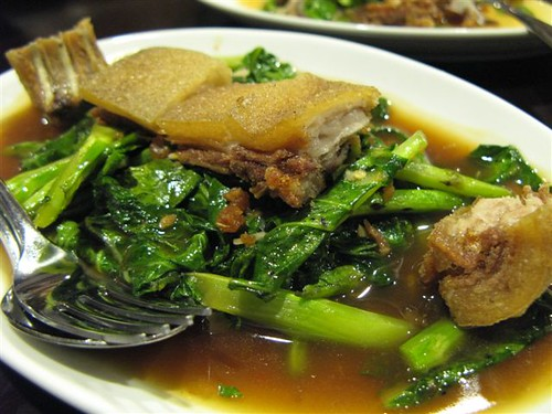 stir fried kale with crispy pork