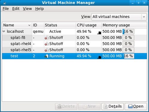 Fig 18. Virt-manager, running a test domain