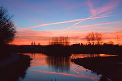 Dawn in Warnsveld Netherlands (Quibuzzz) Tags: blue winter sky orange sun water night dawn day warnsveld