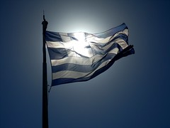 Greek flag (johnskabardonis) Tags: blue summer vacation white windy sunny athens greece acropolis 2008 greekflag fiatlux betterthangood breathtakinglybeautiful yearofholidays