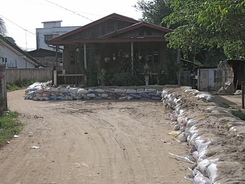 sandbagged house