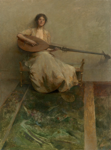 Thomas Wilmer Dewing, Girl with a Lute, 1904-05 by Painter's Reference.