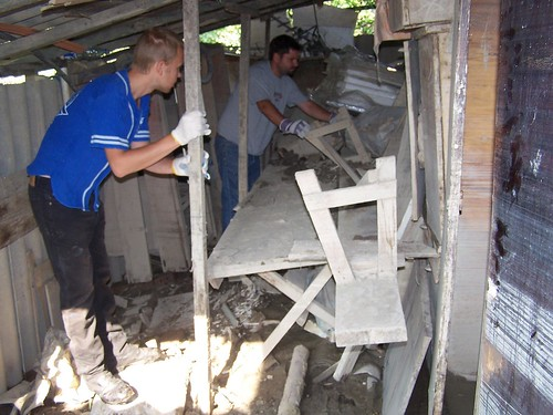 Andriy and Conor cleaning out the shed