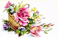 cesto de rosas,roses basket (* angelandim *) Tags: roses poster cards prints oldpictures rosas cartes oldpostcards oldcards estampasantigas cartesantigos