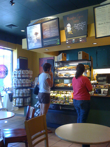 Picking a treat at Starbucks on Rockville Pike - Taken With An iPhone