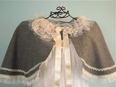 wool capelet (ellene ) Tags: winter wedding grey clothing lace gray cape shawl rhinestone capelet