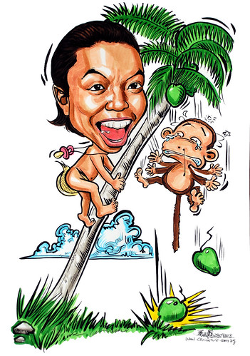 Caricature naked baby climbing coconut tree