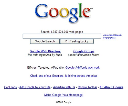 Google 2001 Home Page