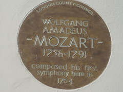 Photo of Wolfgang Amadeus Mozart  brown plaque