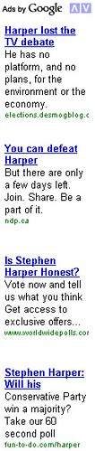 Google content network ads attack Stephen Harper