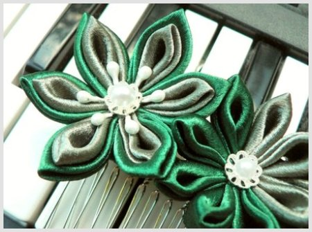 Fabric Flower Hair Comb