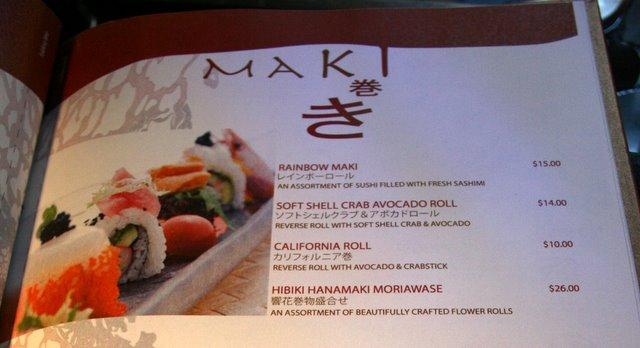 Maki menu at Hibiki