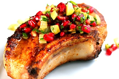 pork chops with pomegranate-fennel salsa
