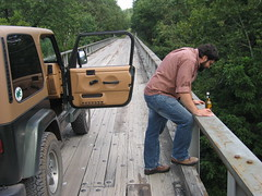 redneck looking over bridge (jreidfive) Tags: county bridge jason me beer virginia jeep miller roanoke craig reid redneck draft genuine