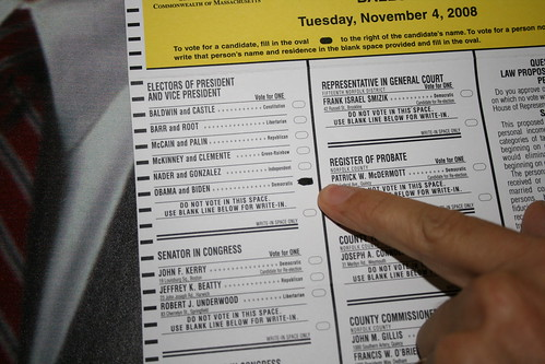 close-up of marked absentee ballot