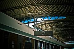 sir do you have the time? (okbeatnik) Tags: sky clock architecture tampa airport time tampabay steel ceiling beams dutyfree joists tpa
