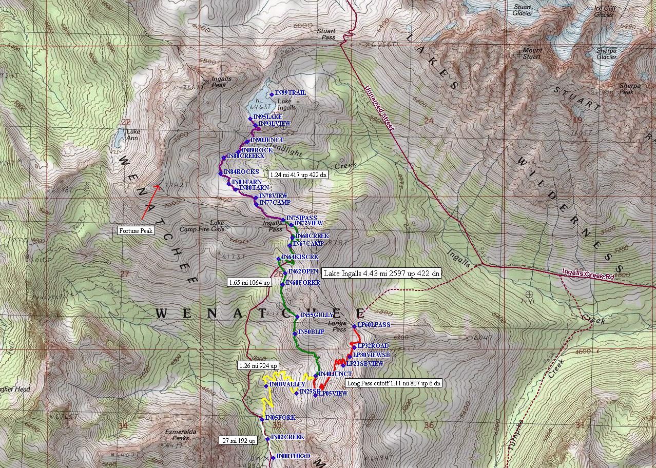 Lake Ingalls/Longs Pass routes.