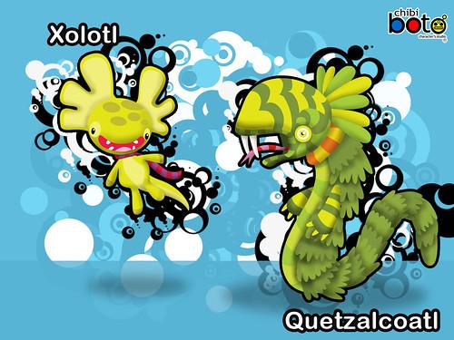 Xolotl y Quetzalcoatl versión Chibiboto
