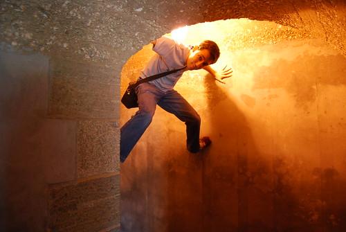 Paul climbing the walls