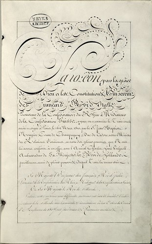 Act of Ratification (between Napoleon, French Emperor and Dutch King - calligraphy) for annexation of Holland by France 1810