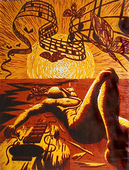 Nocturne for Butterflies, A Dream (2002) (Mario Colombini) Tags: music sun art fall illustration print warm guitar cut mario printmaking linoleum lino breakup colombini buttterflies