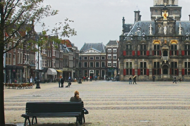 Delft, Markt (Market Square) with Town Hall and New Church (Nieuwe kerk), The Netherlands