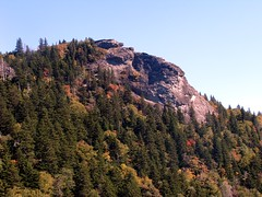 "Rock outcrop, known as ""Devil's Courthouse,"" off Blue Ridge Parkway"